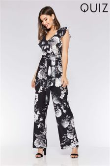 Quiz Floral Frill Palazzo Jumpsuit