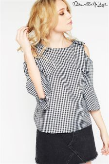 Miss Selfridge Petite Cold Shoulder Gingham Top