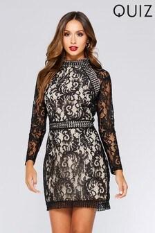 Quiz Lace Long Sleeve Mini Dress
