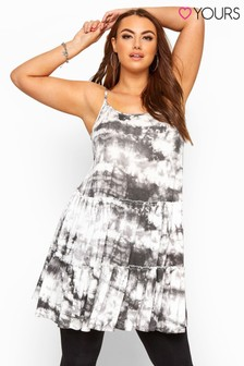 Yours Curve Tie Dye Strappy Tiered Peplum Smock Tunic