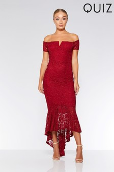 Quiz Lace V Bar Maxi Dress