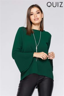 Quiz Frill Sleeve Necklace Top