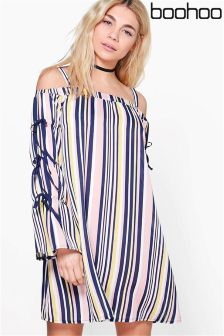 Boohoo Striped Shift Dress