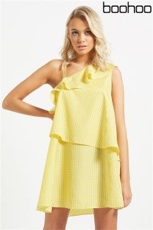 Boohoo One Shoulder Ruffle Dress