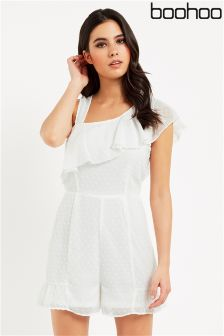 Boohoo One Shoulder Frill Playsuit