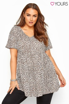 Yours Curve Leopard Print Peplum Smock Top