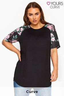 Yours Limited Collection Curve Floral Print Raglan Sleeve Top