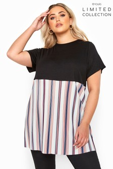 Yours Limited Collection Curve Stripe Plisse Hem Top