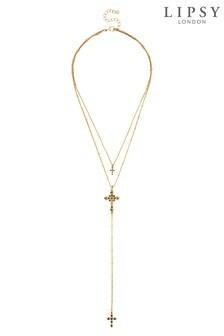 Collier Lipsy à rangées multiples et croix en cristal