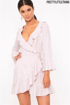 PrettyLittleThing Wrap Frill Dress