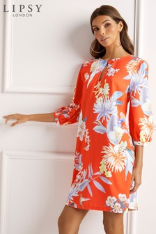 Lipsy Amy Print Balloon Sleeve Shift Dress