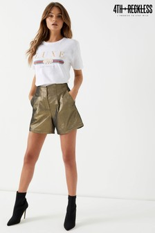 4th and Reckless Metallic High Waist Shorts