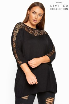 Yours Limited Collection Curve Lace Insert Batwing Sleeve Top