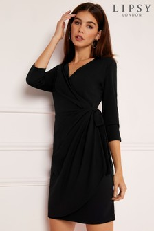 Kopertowa sukienka mini Lipsy z długim rękawem