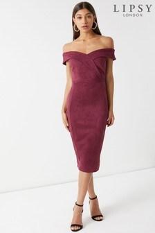 שמלת מידי צמודה ללא כתפיות של Lipsy