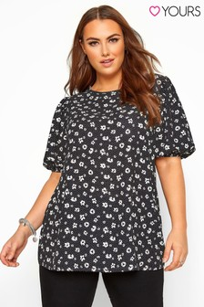 Yours Curve Floral Print Puff Sleeve Top