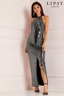 Lipsy Petite Glitter Halter Maxi Dress