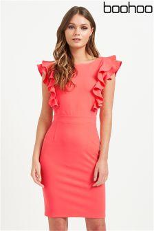 Boohoo Ruffle Shoulder Shift Dress