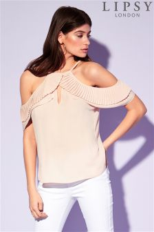Lipsy Pleated Halter Cold Shoulder Blouse