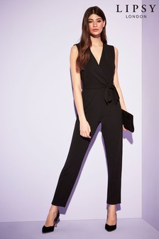 Lipsy London Wrap Jumpsuit Black Size 16 With Tie Waist Worn Once Clothing, Shoes & Accessories Jumpsuits & Rompers