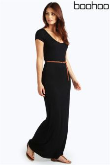 Boohoo Cap Sleeve Belted Maxi Dress