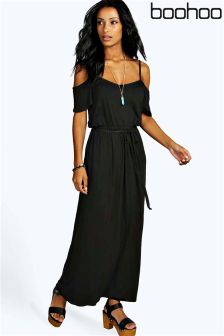 Boohoo Cold Shoulder Maxi Dress