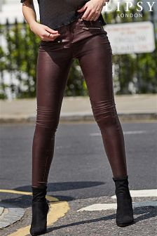 Lipsy Kate Port Super Stretch Zip Coated Mid Rise Skinny Jeans