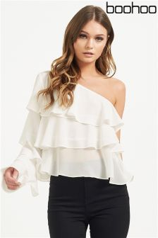 Boohoo One Shoulder Ruffle Blouse