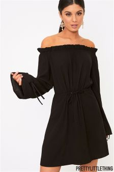 PrettyLittleThing Ruched Bardot Flared Sleeve Shift Dress
