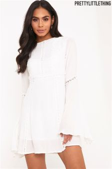 PrettyLittleThing Crochet Lace Insert Swing Dress