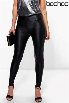 Boohoo Violet Leather Look High Waist Skinny Leggings