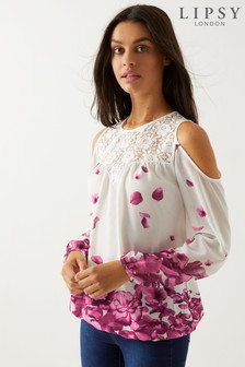 Lipsy Printed Cold Shoulder Top