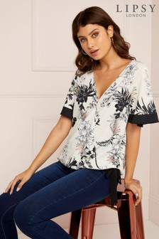 Lipsy Tropical Print Wrap Blouse