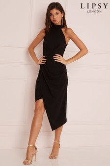 Lipsy Halterneck Assymetric Hem Bodycon Dress
