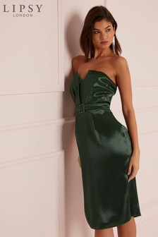 Lipsy Satin Cocktail Bandeau Bodycon Dress