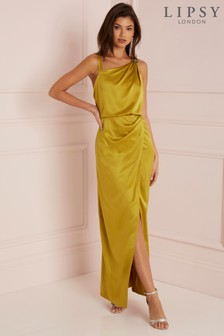 Lipsy Satin Assymetric Neck Maxi Dress