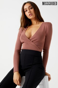 Missguided Plunge Knitted Bodysuit