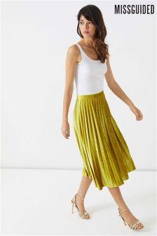 Missguided Pleated Knee Length Skirt