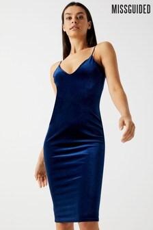 Missguided Velvet Strappy Midi Dress