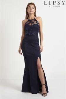 Lipsy Sequin Halter Maxi Dress