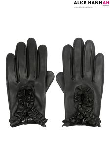 Alice Hannah Ruffle Detail Leather Gloves