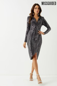 Missguided Sequin Wrap Front Midi Dress