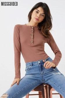 Missguided High Neck Button Bodysuit