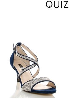 Quiz Suedette Diamanté Cross Strap Low Heel Sandals