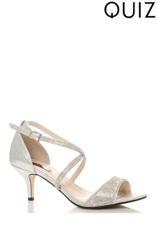 Quiz Shimmer Diamante Cross Strap Low Heel Sandals