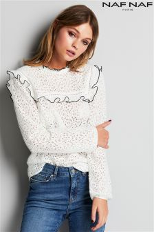 Naf Naf High Neck Lace Blouse