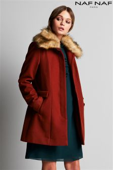Naf Naf Faux Fur Wool Coat
