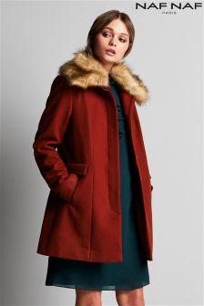 Шерстяное пальто Naf Naf с отделкой из искусственного меха