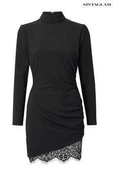 Sistaglam Long Sleeve Side Ruched Mini Dress