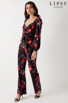 Lipsy Stella Print Long Sleeve Jumpsuit